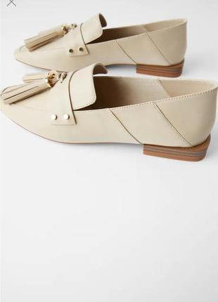 Zara оригинал! новые! кожаные мокасины туфли лоферы мюли 37 размер