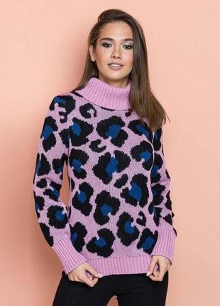 Свитер леопардовый цвет розовый-джинсовый-черный