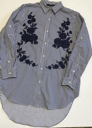 Новая удлинённая рубашка туника вышивка 100% хлопок оригинал zara
