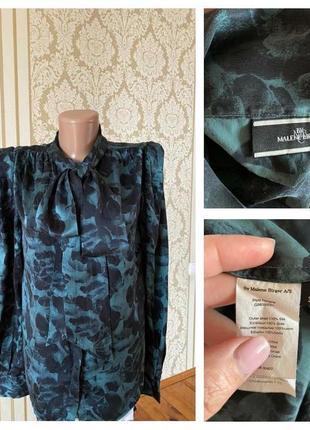 100% шёлк винтажная блузка рубашка  в принт