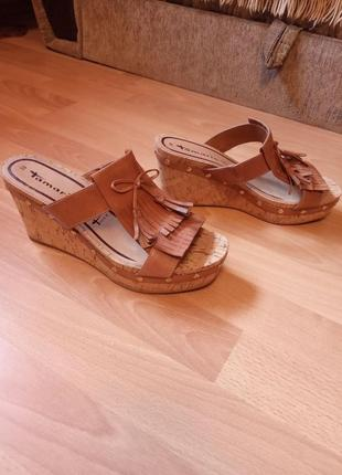 Германия, нереально красивые, кожаные сандалии, сабо, шлепанцы, шлепки на платформе