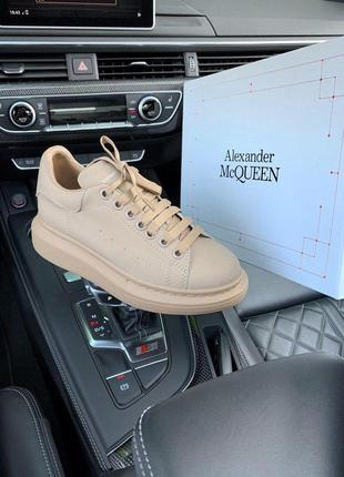 Кроссовки alexander mcqueen beige matte код - мк 001
