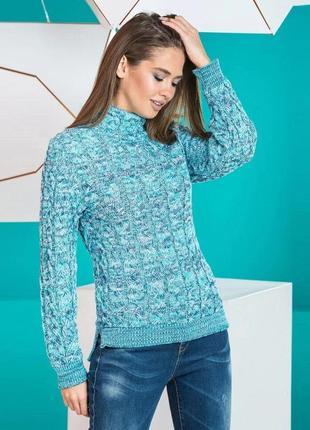 Теплый стильный свитер мятный меланж