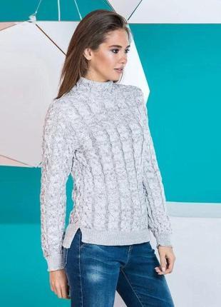 Теплый вязаный свитер цвет серый меланж