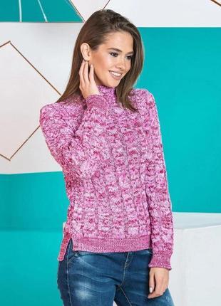 Стильный теплый вязаный свитер вишня меланж