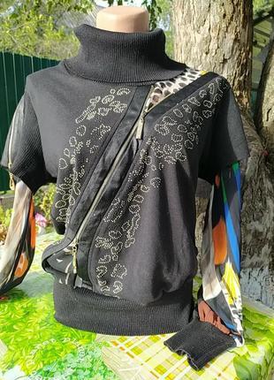 Черная жилетка обманка с шифоновыми рукавами