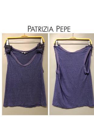 Patrizia pepe дизайнерская безрукавка майка топ с вышивкой стразами и бахромой брендов