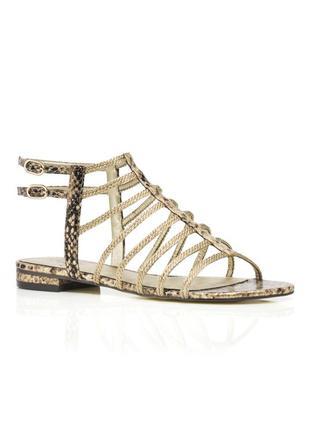 Adrianna papell оригинал сандалии кожаные босоножки змеиный принт платиновые из сша