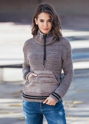 Теплый свитер кенгуру капучино меланж украина качество!