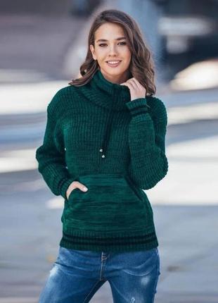 Теплый свитер кенгуру цвет бутылочный меланж качество!