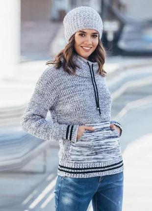 Качественный теплый свитер кенгуру серый меланж