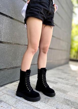Замшевые высокие ботинки на шнурках зима/деми