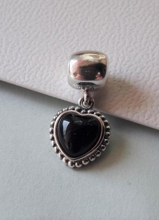 Шарм-подвеска pandora черное сердце оригинал