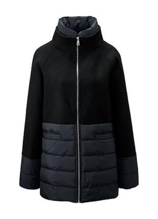 Пальто, полупальто, женское, черное, комбинированное, tchibo, размер ru 52