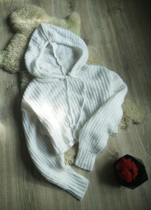 В наличии! укороченный свитер с капюшоном оверсайз, вязаное худи толстовка объемные рукава
