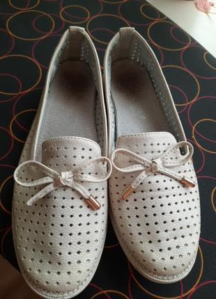 Балетки туфли школьные перфорированые