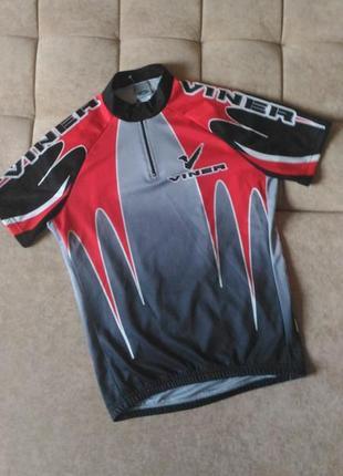 Велофутболка италия красно-чёрного цвета размер s/m