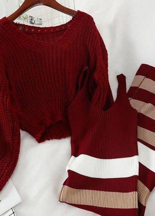 1660.    вязаный костюм двойка: укороченный джемпер и платье