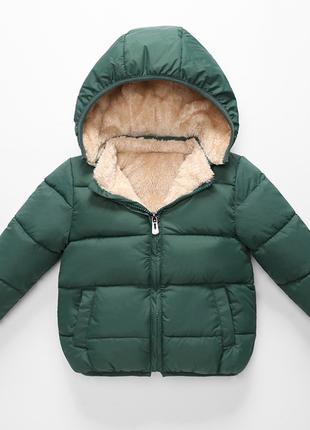 Детская зеленая куртка с подкладкой