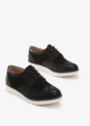Женские черные замшевые туфли оксфорды на шнурках польша