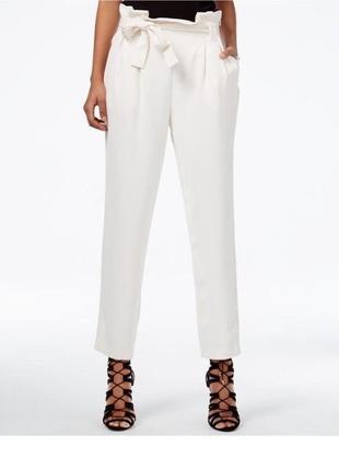 Белые брюки с поясом высокая посадка zara