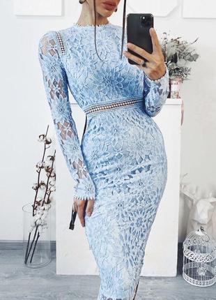 Платье prettylittlething миди кпужевное ажурное с asos