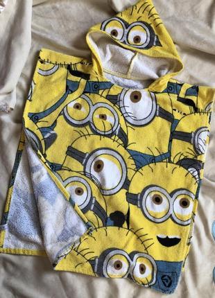 Детское полотенце с капюшоном миньоны , пляжное полотенце