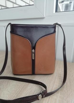 Шкіряна фірмова італійська сумочка кросбоді vera pelle!