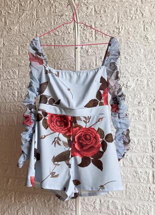 Комбинезон с шортами boohoo floral ruched mesh playsuit