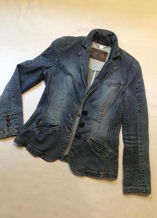 Marc cain джинсовая брендовая лёгкая куртка фасона жакет выделит из множества