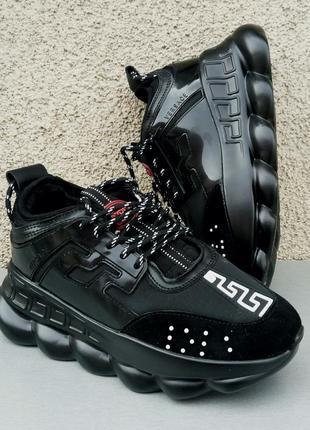 Versace chain reaction кроссовки женские черные очень - зима - весна