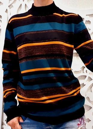 Шикарный свитер l женский с люрексом золотистый под горло джемпер papaya
