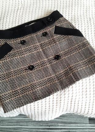 Шерстяная мини юбка с имитацией запаха дорогого бренда karen millen