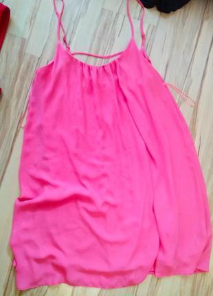 Стильное брендовое сексуальное платье на бретельках розовый коралл, размер 14-16