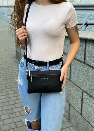 Женская кожаная сумка клатч на и через плечо polina & eiterou жіноча шкіряна сумочка