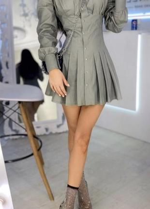 Платье коттон цвет фисташка