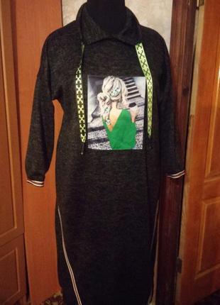 Платье спортшик оверсайз с нашивкой 3д