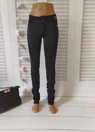 Скинни скини узкие брюки черные, s