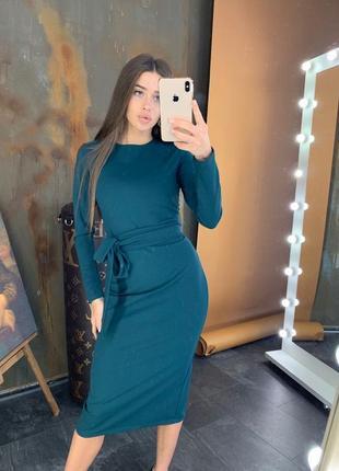 Платье женское миди изумруд