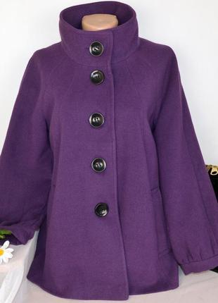Брендовое фиолетовое демисезонное пальто с карманами wallis вискоза
