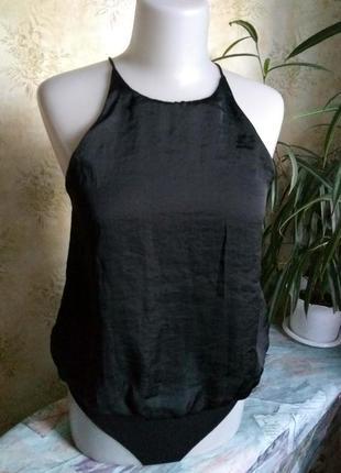 Zara майка боди блуза на подкладке під шовк с напуском