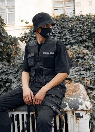Жилет с карманами пушка огонь street черный с рефлективом