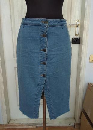 Джинсовая юбка- миди terranova, размер  l