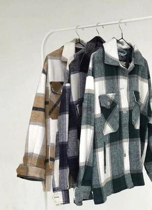 Тёплая рубашка/ пальто в клетку