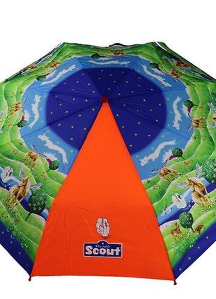 Легкий складной детский зонт scout