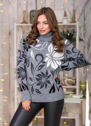Серый свитер стиль оверсайз цветочный принт