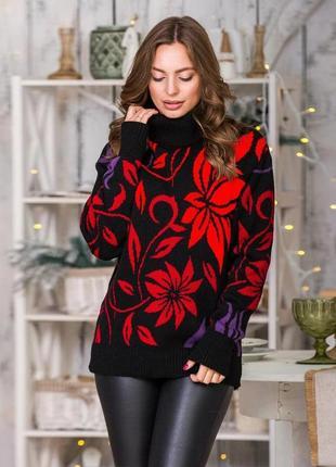 Очень эффектный теплый свитер стиль оверсайз