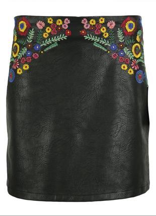 Вышитая кожаная юбка zara