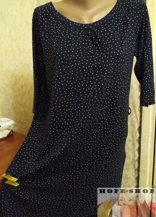 Чёрное в мелкий горошек трикотажное платье,платье для дома,ночная рубашка 42/50