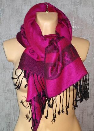 Палантин шарф фиолетовый 70 см на 190 см